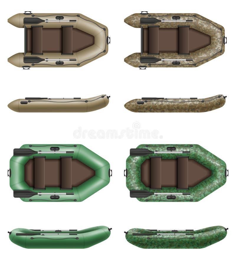 Opblaasbare rubberboot voor visserij en toerisme vectorillustrati stock illustratie