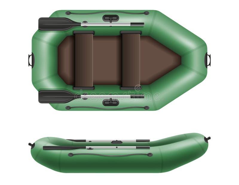 Opblaasbare rubberboot voor visserij en toerisme vectorillustrati royalty-vrije illustratie