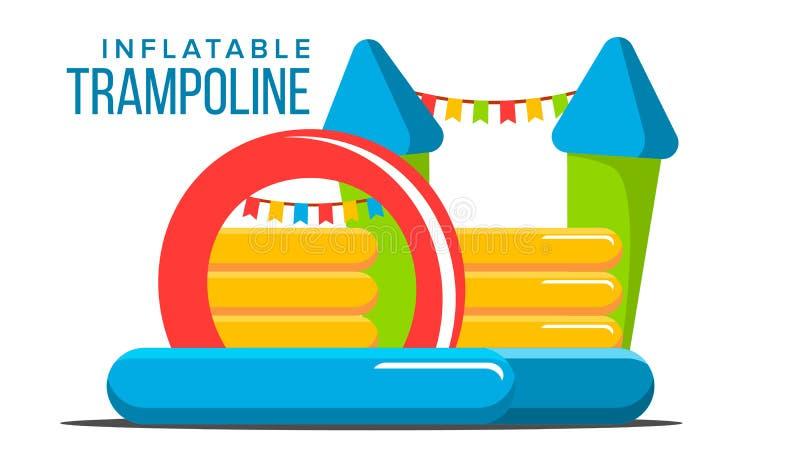 Opblaasbare Trampolinevector Speelplaatsstuk speelgoed Kasteel, Toren Park Geïsoleerde vlakke beeldverhaalillustratie stock illustratie
