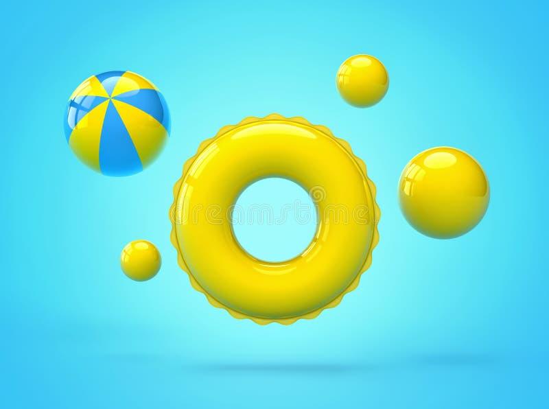 Opblaasbare zwemmende ring en strandballen op blauwe achtergrond royalty-vrije illustratie
