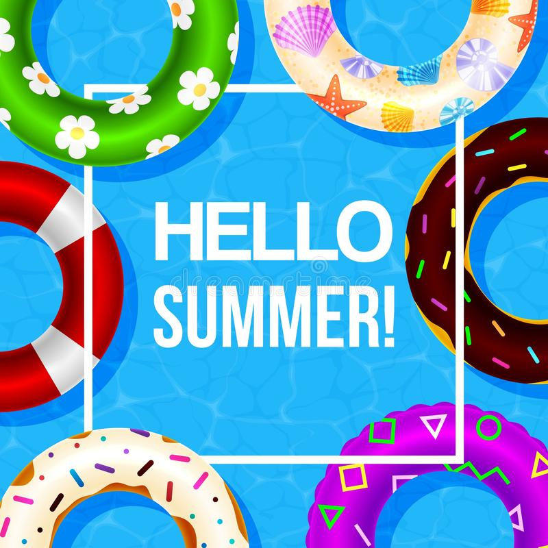 Opblaasbare zwemmende rings vectoraffiche met hello de zomer in wit kader Waterspeelgoed, vlotters Strandpartij en hello vector illustratie