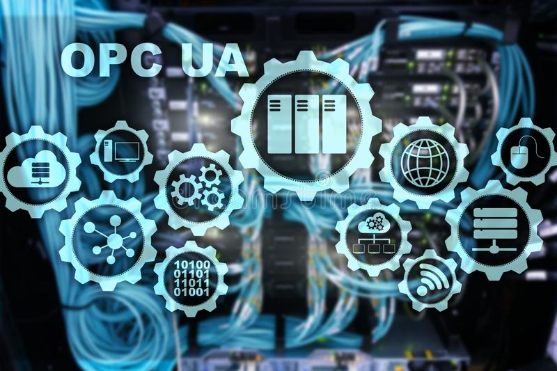 OPC Unified Architecture. Data Transmission in Industrial Networks concept. OPC Unified Architecture. Data Transmission in Industrial Networks concept stock image