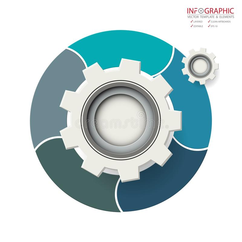 Opción abstracta del infographics 5 del elemento del vector Diseño para el busine stock de ilustración