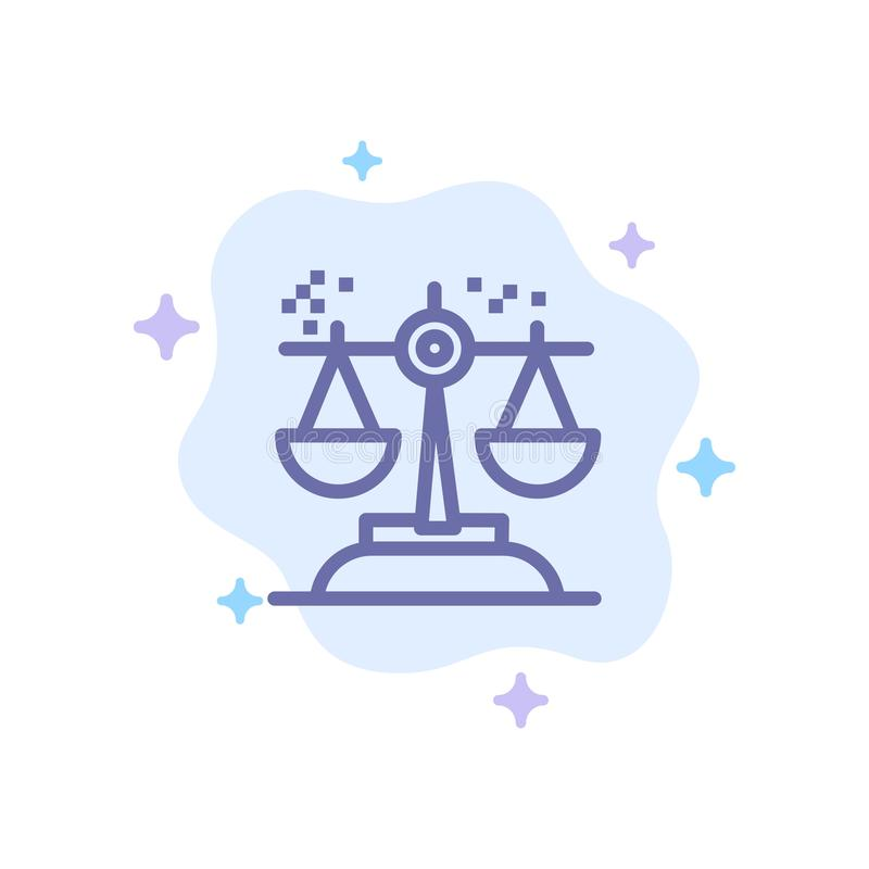 Opción, conclusión, corte, juicio, icono azul de la ley en fondo abstracto de la nube ilustración del vector