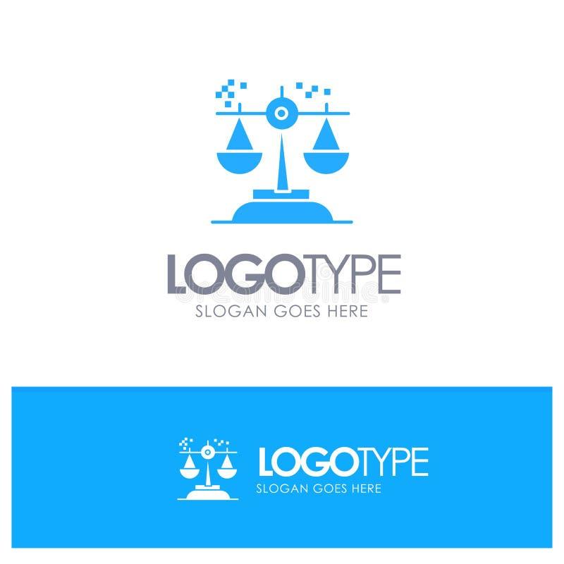 Opción, conclusión, corte, juicio, logotipo sólido azul de la ley con el lugar para el tagline libre illustration