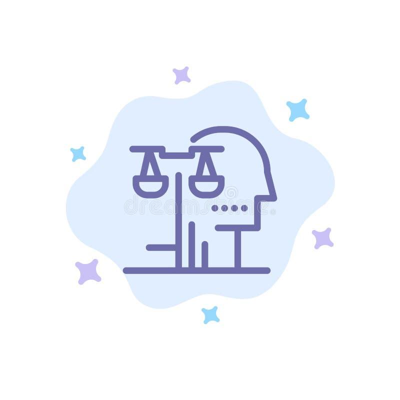 Opción, corte, ser humano, juicio, icono azul de la ley en fondo abstracto de la nube libre illustration