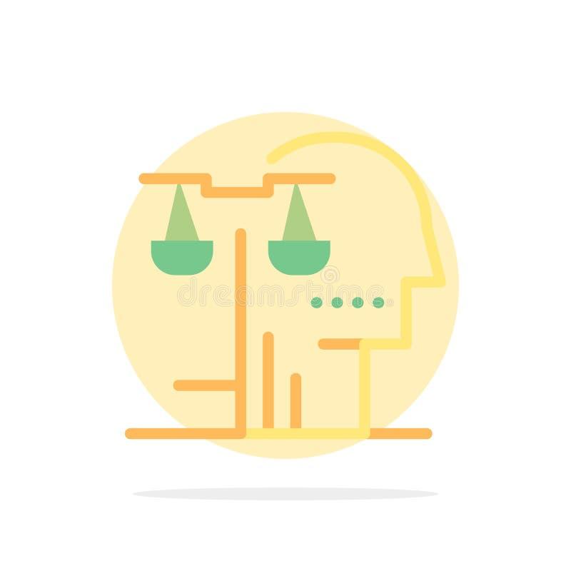 Opción, corte, ser humano, juicio, icono plano del color de fondo abstracto del círculo de la ley stock de ilustración