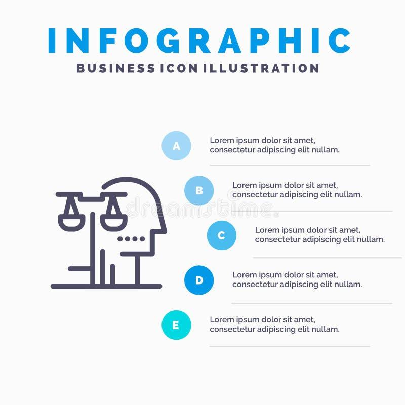 Opción, corte, ser humano, juicio, línea icono de la ley con el fondo del infographics de la presentación de 5 pasos stock de ilustración