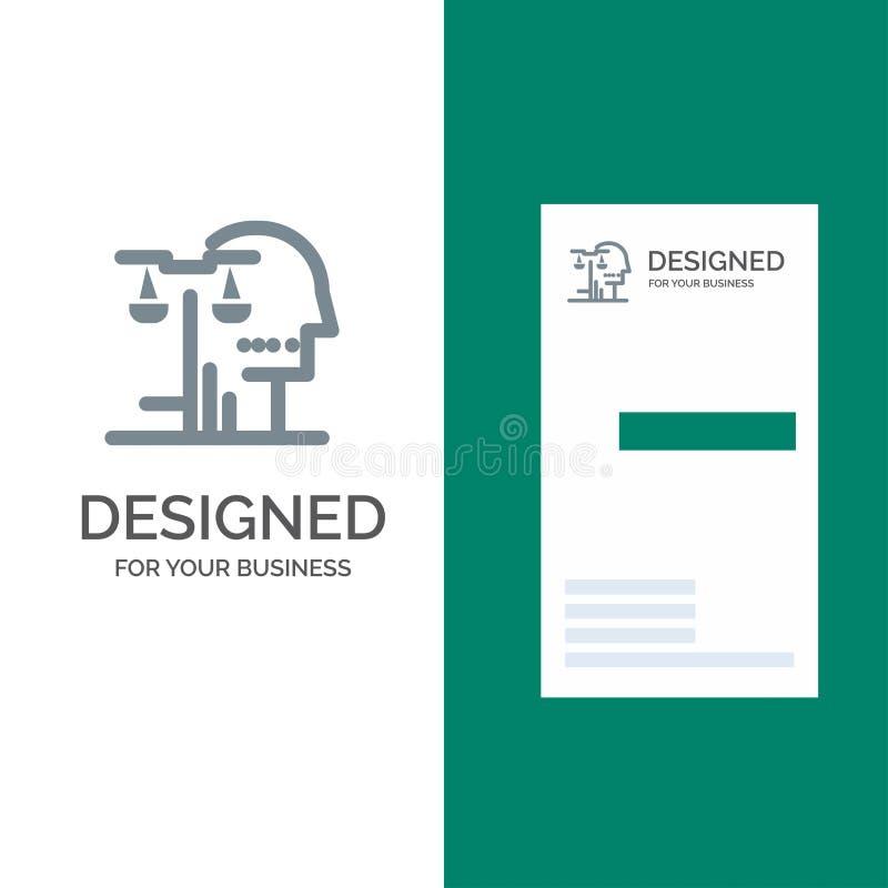Opción, corte, ser humano, juicio, ley Grey Logo Design y plantilla de la tarjeta de visita ilustración del vector