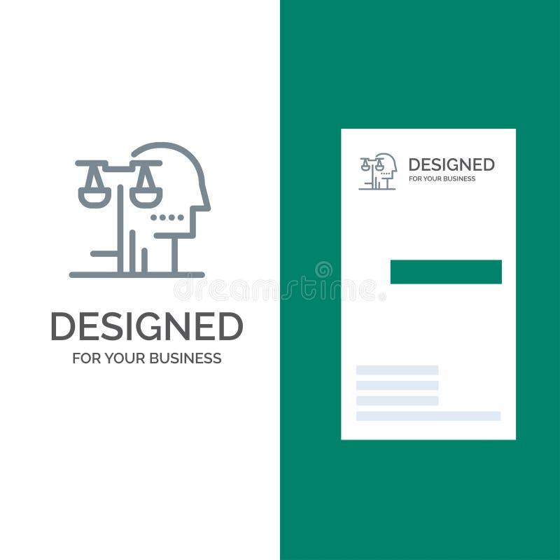 Opción, corte, ser humano, juicio, ley Grey Logo Design y plantilla de la tarjeta de visita stock de ilustración