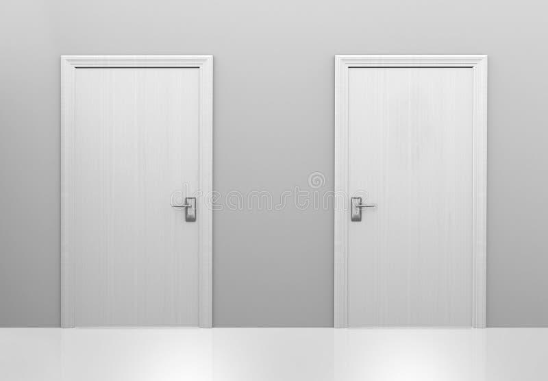 Opción de dos puertas a las diversas opciones o decisiones, representación 3D stock de ilustración