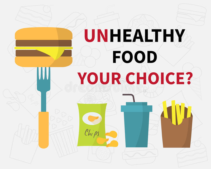Opción de la comida malsana, iconos de los alimentos de preparación rápida de los desperdicios ilustración del vector