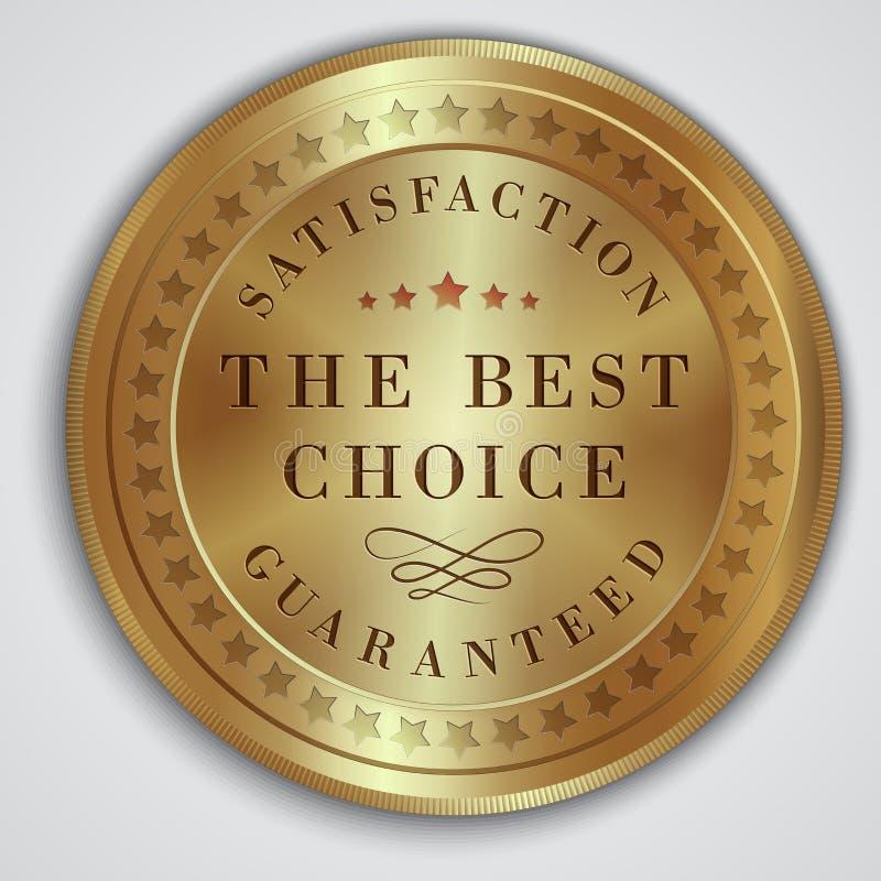 Opción de la insignia redonda del oro la mejor imagen de archivo libre de regalías