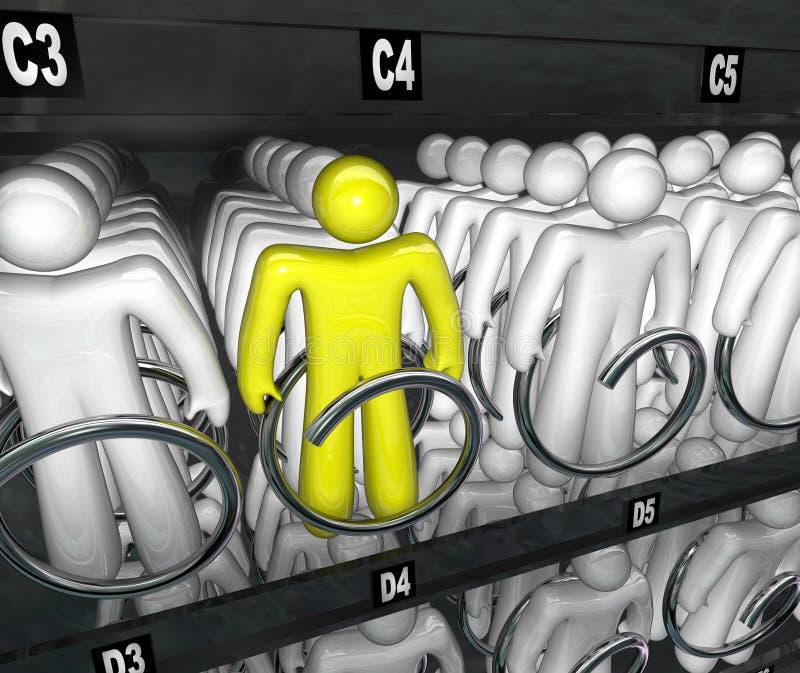 Opción de la máquina expendedora del bocado de las opciones de la gente stock de ilustración
