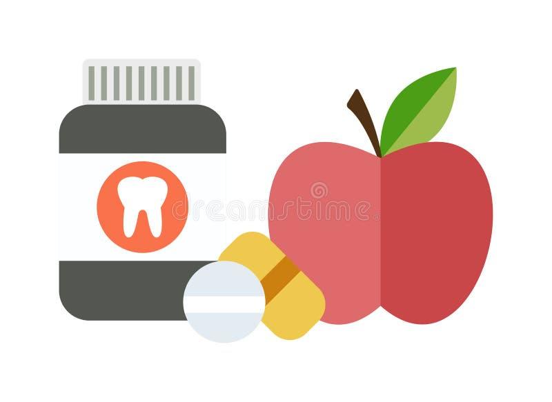 Opción del concepto de la dieta equilibrada de la salud entre dos píldoras de las vitaminas de las fuentes o vectores de las frut stock de ilustración
