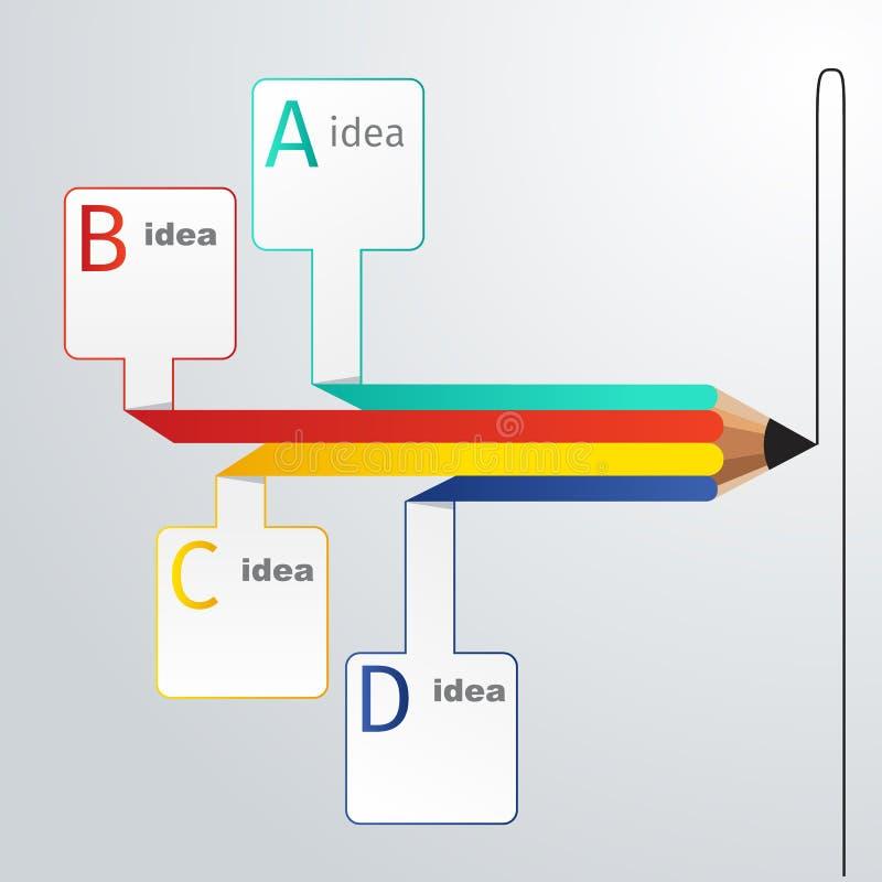 Opción del infographics del lápiz de la educación del negocio ilustración del vector