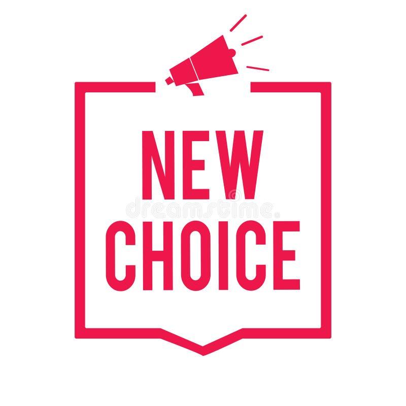 Opción del texto de la escritura de la palabra nueva Concepto del negocio para tener porción de opciones y añadir otro para elegi ilustración del vector