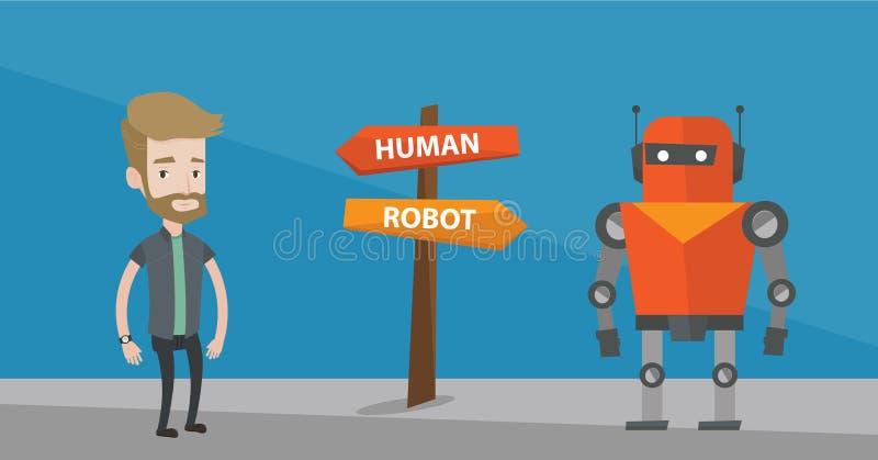 Opción entre la inteligencia artificial y el ser humano ilustración del vector