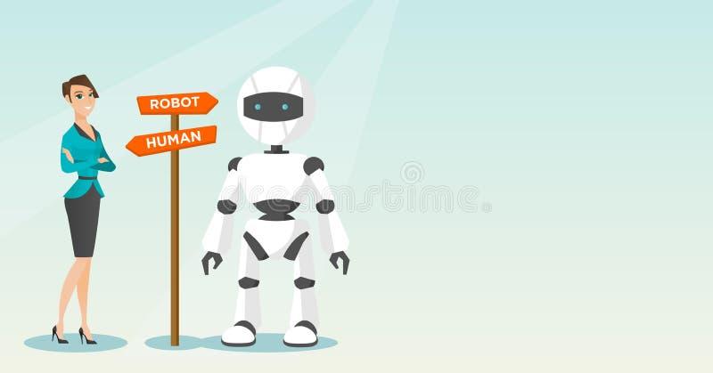 Opción entre la inteligencia artificial y el ser humano stock de ilustración