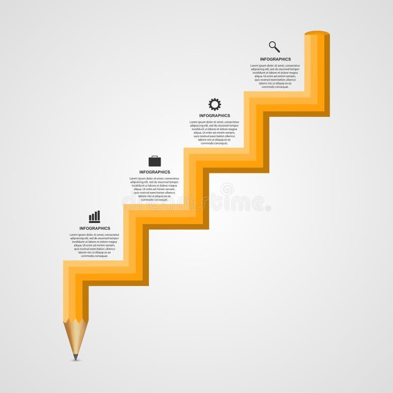 Opción Infographics del lápiz de la educación bajo la forma de concepto de diseño de la escalera de los pasos libre illustration