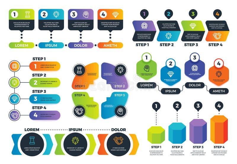 Opciones de Infographic Diagramas de flecha, cartas de proceso abstractas e infographs de la estrategia con pasos Presentación de libre illustration
