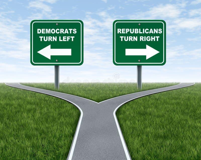 Opciones de la elección de Democrats y de los republicanos stock de ilustración