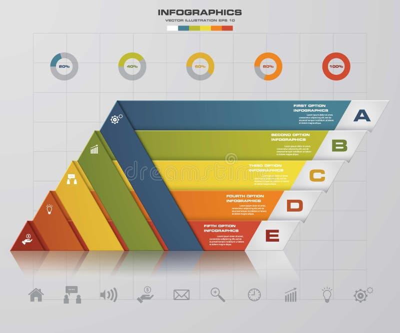 5 opciones de la presentación template/5 de los pasos se van volando el gráfico de la forma o la disposición del sitio web stock de ilustración