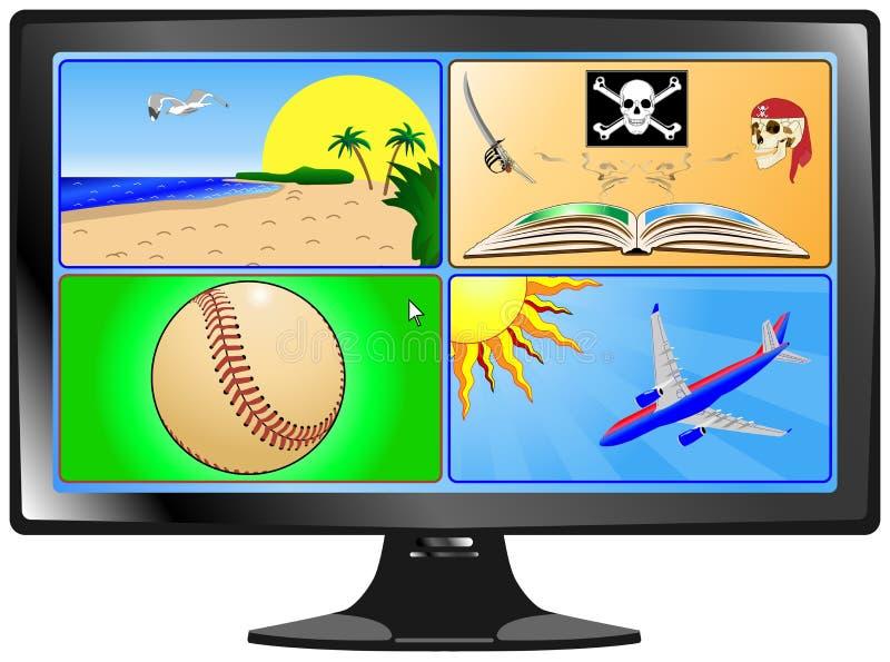 Opciones de las compras del Internet ilustración del vector