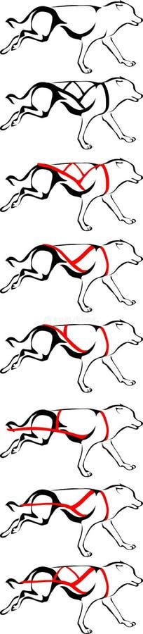 Opciones del diseño para las razas del arnés del trineo del perro ilustración del vector