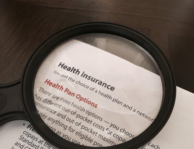 Opciones del plan del seguro médico imagen de archivo