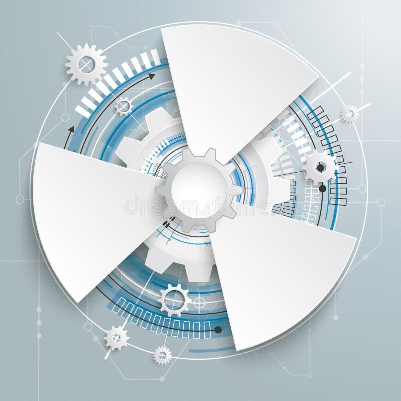 Opciones futuristas de la placa de circuito 3 de la construcción del engranaje stock de ilustración