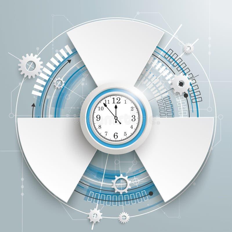 Opciones futuristas de la placa de circuito 3 del reloj de la construcción del engranaje ilustración del vector