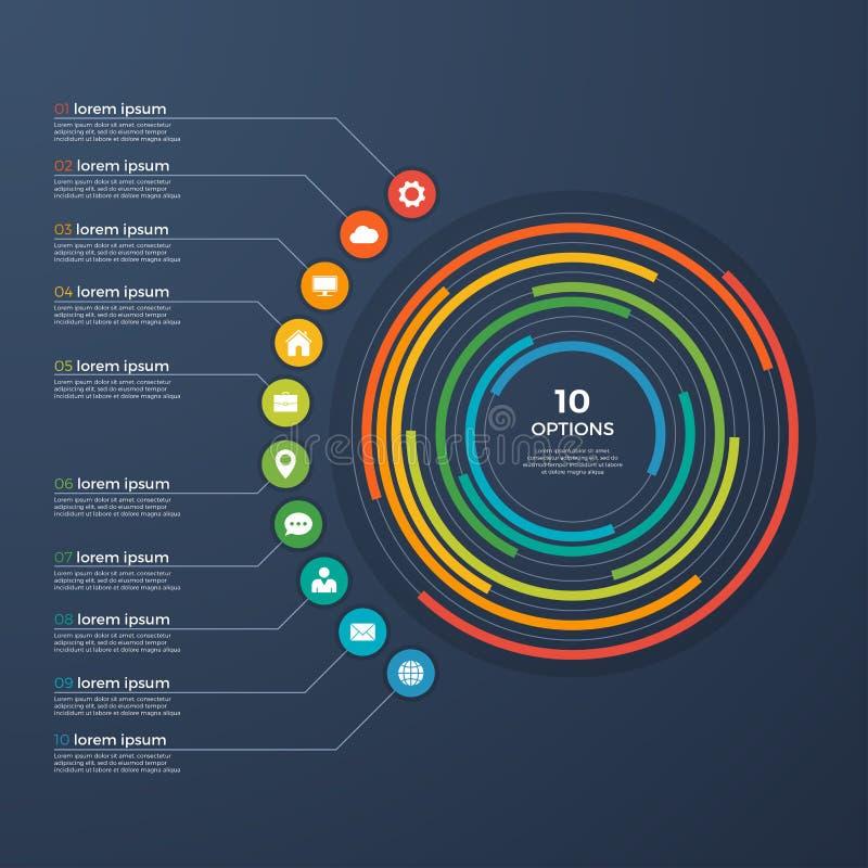 Opciones infographic de la carta 10 del círculo de la presentación ilustración del vector