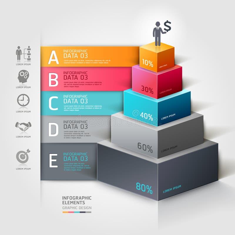 opciones modernas del steb del negocio de la escalera 3d. ilustración del vector