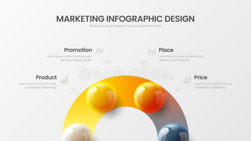 4 opcja wektoru 3D infographic kolorowej pi?ki ilustracyjnej Marketingowy analityka dane raportu projekta uk?ad obraz stock