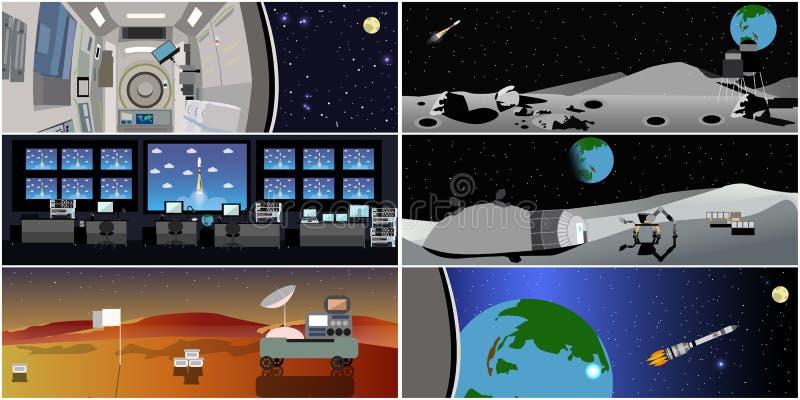 Opdracht Control Center De vectorillustratie van de raketlancering Post en kosmische ruimte vector illustratie