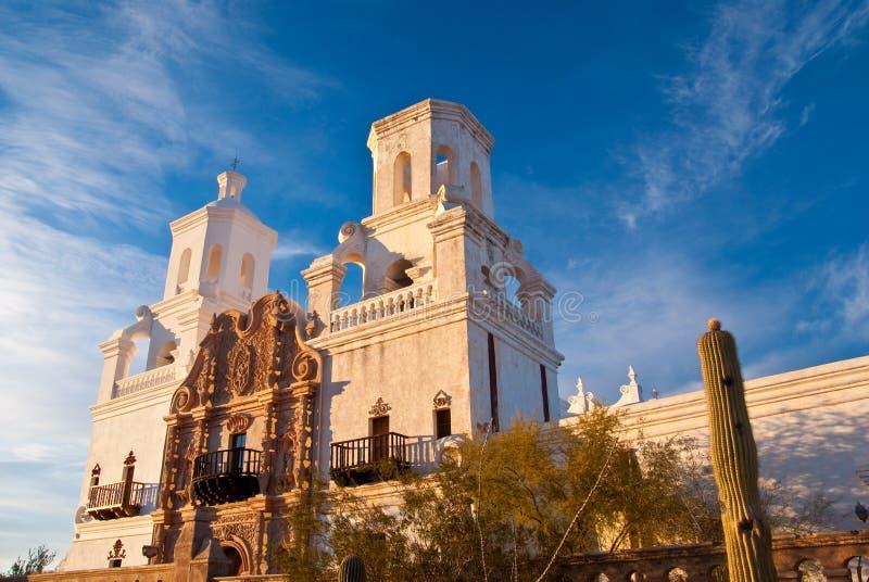 Opdracht San Xavier bij Zonsondergang stock fotografie
