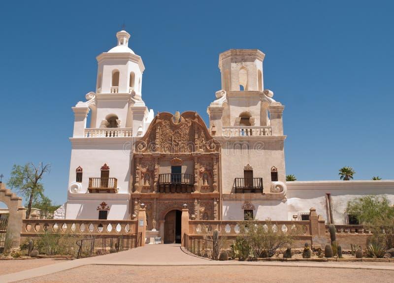 Opdracht San Xavier del Bac, Tucson Arizona stock afbeeldingen