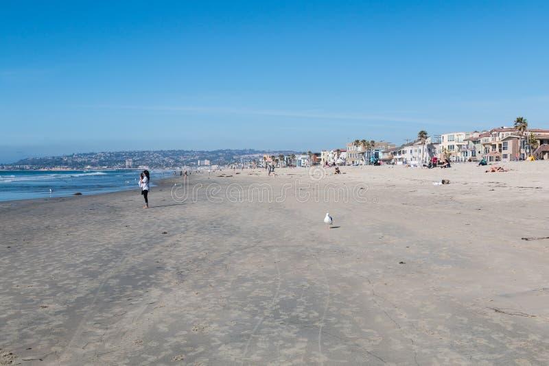 Opdrachtstrand, een Populair Strand in San Diego, Californië stock foto's