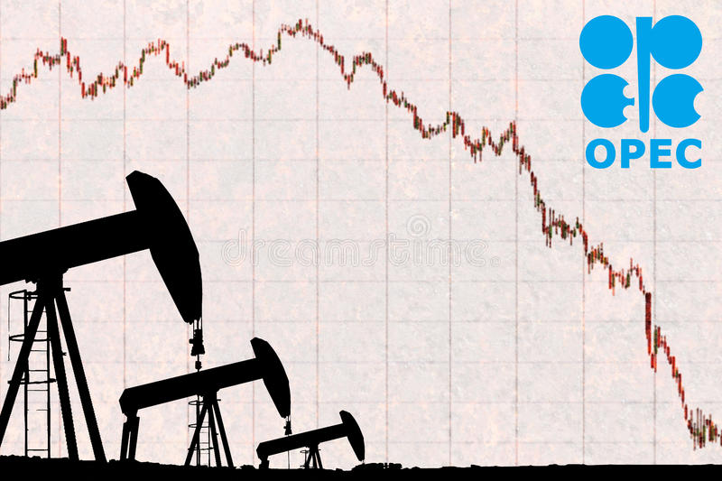 OPEC logo, silhouette industrial oil pump jack and devaluation graph royalty free stock photography