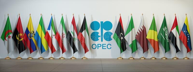 OPEC Symbol och flaggor av OPECländer vektor illustrationer