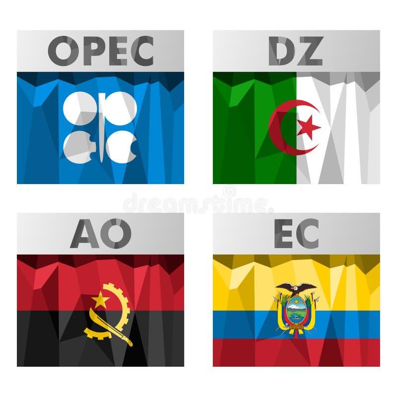 OPEClandsflaggor stock illustrationer