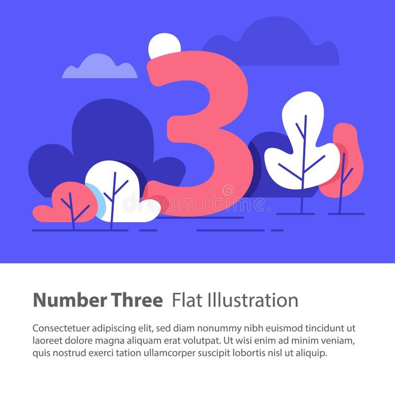 Opeenvolgend aantal, nummer drie, hoogste grafiekconcept, nachthemel, vlakke illustratie royalty-vrije illustratie