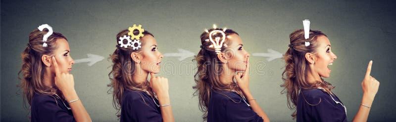 Opeenvolging van een nadenkende vrouw, het denken, die oplossing met toestelmechanisme vinden, vraag, uitroep, lightbulb symbolen royalty-vrije stock afbeeldingen