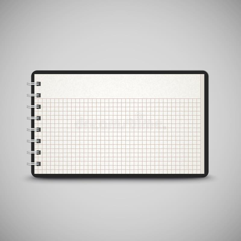 Open überprüfte das Notizbuch, das auf Grau lokalisiert wurde stock abbildung