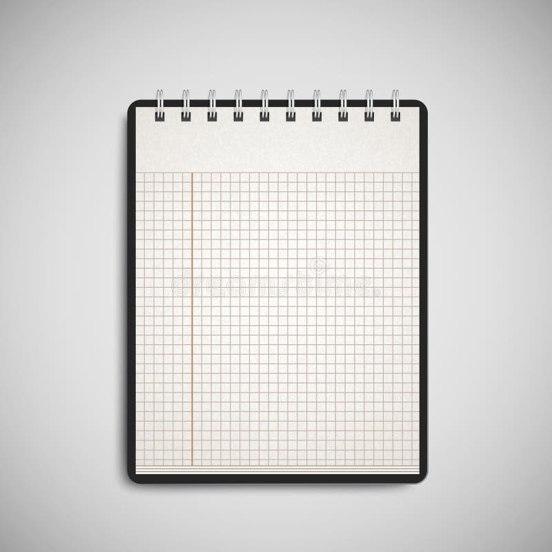 Open überprüfte das Notizbuch, das auf Grau lokalisiert wurde vektor abbildung