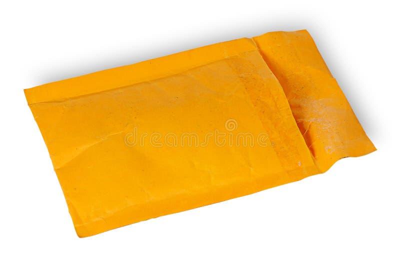 Open использовал желтый конверт стоковые изображения rf