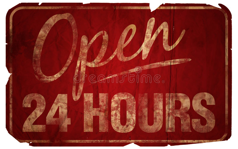 Open 24 Hours Aged stock photo