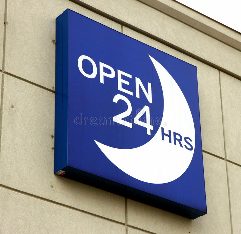 Open 24 Hours Sign Editorial Stock Image