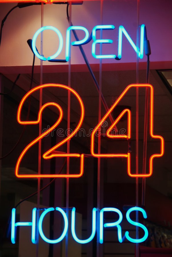 Open 24 Hours Sign stock photography